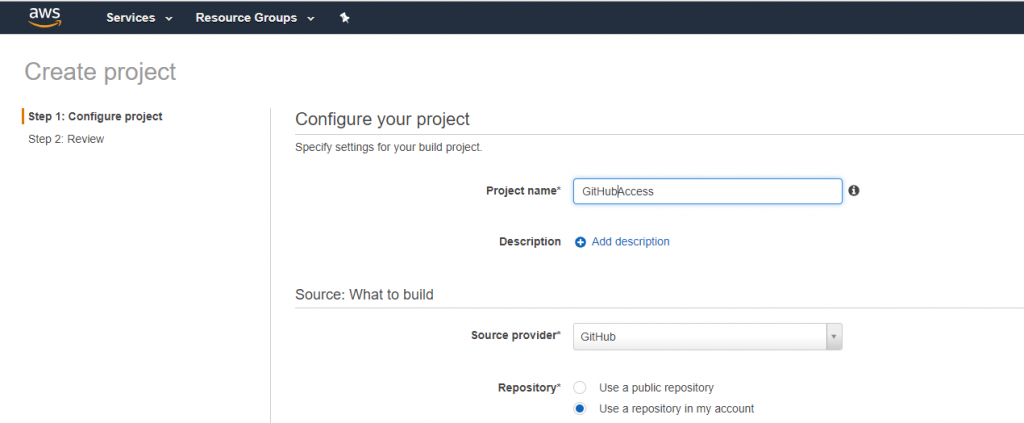 Use GitHub source in AWS CodeBuild Project using AWS