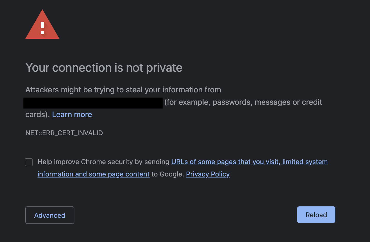 MacOS Chrome connection is not private